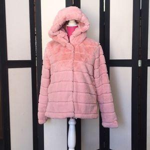Pink Faux fur jacket EUC Size-L